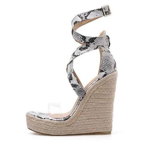 Serpentine Platform High Heel Wedges Sandals – Premiwear.com Platform High Heels, Platform Wedge Sandals, Open Toe Sandals, Wedge Heels, Women's Sandals, Occasion Shoes, Sandals For Sale, Peep Toe Wedges, Comfortable Sandals