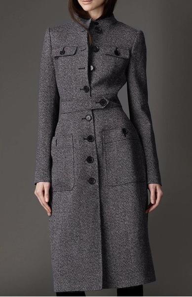 Womens Trench Full Length Coat Jacket Parka Wool Blend Slim Fur Collar Fashion