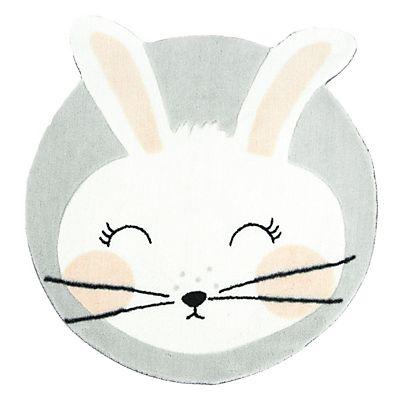 Tapis rond D60cm pour enfant motif lapin | Tapis lapin ...