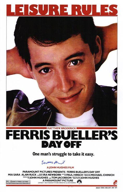 Matthew Broderick Signed Ferris Bueller's Day Off 11x17 Movie Poster