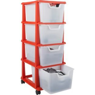 Buy 4 Drawer Plastic Tower Storage Unit on Castors - Red at Argos.co.uk - Your Online Shop for Limited stock Home and garden Plastic storage boxesu2026  sc 1 st  Pinterest & Buy 4 Drawer Plastic Tower Storage Unit on Castors - Red at Argos.co ...