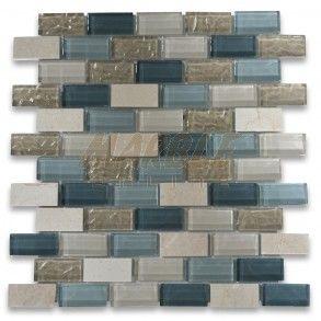 Gray Blue Beige Light Brown Glass Mix Crema Marfil Marble 1x2 Brick Mosaic Tile Blue Backsplash Kitchen Grey Blue Bathroom Beautiful Tile Bathroom