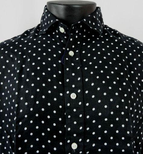 b84d653cfc03 NWT Polo Ralph Lauren Mens L Polka Dot Shirt Linen Black White LS Button  Front…