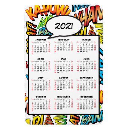 Comic Book Pop Art Speech Bubble 2021 Calendar Magnet Zazzle Com In 2020 Magnetic Calendar 2021 Calendar Simple Planner
