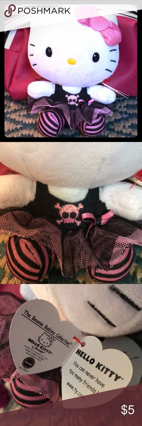 Ty Beanie Baby Hello Kitty Tutu ☠️ Glam w/ tag 💋 so kawaiiiiii cute baby beanie of Hello Kitty dressed as a glam rocker 💋 HAS ORIGINAL TY TAG! 💋 she's a little dusty from being on the shelf  💋 2+ Items over $5 get a 25% Discount!! 3 for $10 on $5 Items! Ty Accents Decor