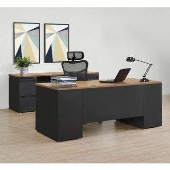 Carbon Executive Desk And Credenza Set In 2020 Executive Desk Desk Dimensions Steel Desk