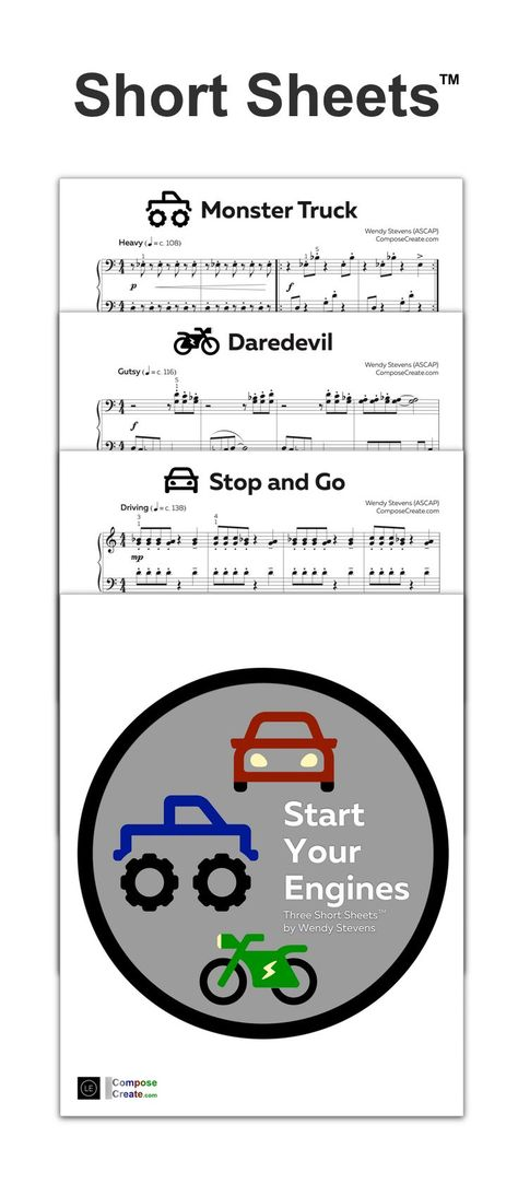 This new set of Short Sheets™ will become a pupil saver for piano students in your piano studio. #piano #student #solo #elementary #fast #loud #monster #truck #cars #motorcycle #music #sheet #publisher