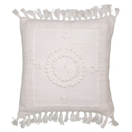 Bungalow Loft White Oversized Woven Knot Tassel Throw Pillow