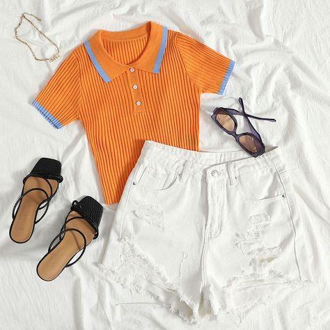 DAZY Contrast Binding Polo Neck Knit Top
