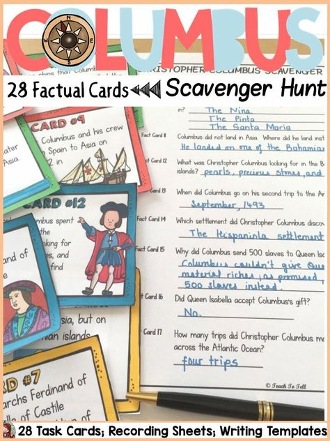 Christopher Columbus Columbus Day Scavenger Hunt For Facts Teaching Elementary Social Studies Activities Teaching