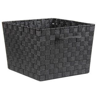 Home Basics Non Woven 10 Inch Strap Bin Black Fabric Home Basics Decorative Storage Baskets Decorative Storage Bins
