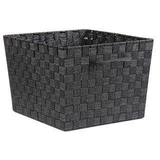 Home Basics Non Woven 10 Inch Strap Bin Black Fabric Home Basics Decorative Storage Baskets Decorative Storage Bins