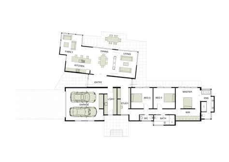 Floor Plan Like The Separte Living Areas On An Angle Swap Kitchen To Other End Of The Space Flip Pavilion Plans Modern House Floor Plans Floor Plan Design