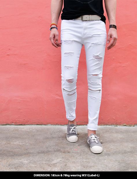 a19d2cd61 Zipper Damage White Skinny-Jeans 316 by Guylook.com Top quality spandex  denim with excellent flexibility Body-skimming skinny cut Worn-out damage &  zipper ...