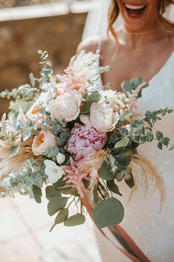 Blush Peony Bouquet For Spanish Boho Wedding - - Woodland Wedding in Northern Spain with Feather Headdress, Blush Bouquet with Pink Peonies, Pampas Grass Moon Gate & Pampas Grass Aisle Flowers By Miks Sels. Peony Bouquet Wedding, Summer Wedding Bouquets, Blush Bouquet, Floral Wedding, Wedding Lace, Wedding Blush, Blush Pink Wedding Flowers, Spring Flower Bouquet, Bridal Bouquet Pink