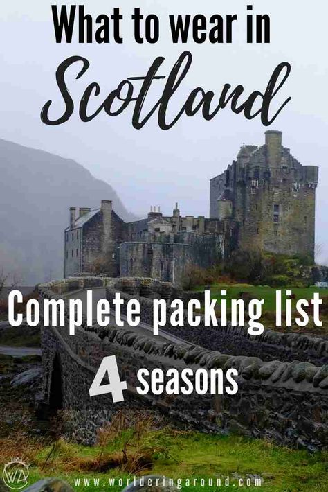 What to wear in Scotland for every season. Complete packing list for Scotland for 4 seasons. What to pack for Scotland. What to pack for Highlands in Scotland, Glasgow packing list, Edinburgh packing list. What to take to Scotland, what to pack for vacati Vacation Packing, Packing List For Travel, Europe Travel Tips, Places To Travel, Packing Lists, Travel Guide, Traveling Europe, Vacation Deals, Backpacking Europe