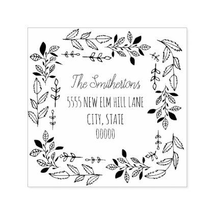 Rustic Hand Drawn Leaves Return Address