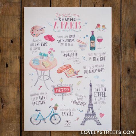 Print Lovely Streets - Ce qui me charme à Paris (FR) - Mr. Wonderful #mrwonderful #mrwonderfulshop #mrwonderfulUK #lovelystreets #travel #adventure #wanderlust #traveltheworld #travelblogger #paris