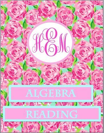 Lilly Pulitzer + Monogram binder covers!   College   Pinterest ...