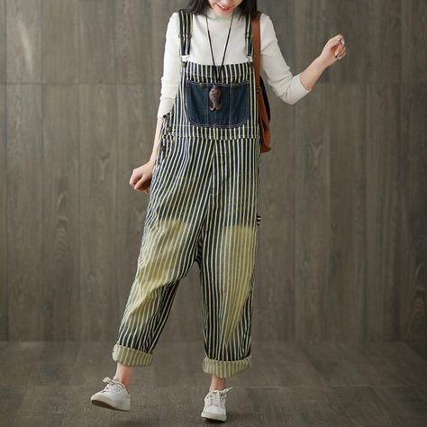 Womens Retro Loose Fitting Casual Stripes Wide Legs Cotton Denim Jumpsuits Overalls With Pockets, Ju