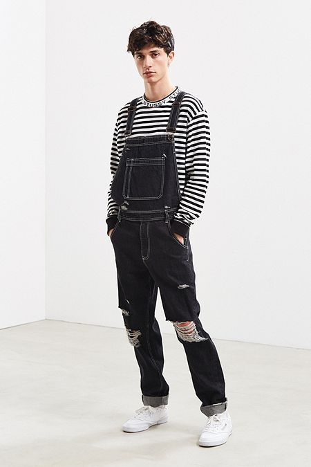 Urban Outfitters Bdg Destructed Denim Overall - 34 Stylish Mens Outfits, Casual Outfits, Men Casual, Streetwear Mode, Streetwear Fashion, Gay Outfit, Mens Clothing Sale, Latest Clothes For Men, Vetement Fashion