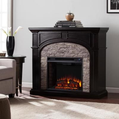 Home Decorators Collection Highland 50 In Faux Stone Mantel Electric Fireplace In Gray 103058 Stone Electric Fireplace Faux Stone Electric Fireplace Electric Fireplace