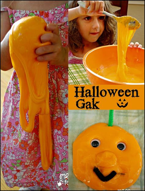 Halloween Gak - This gak is super fun and easy to make. Add some googly eyes and pipe cleaners to create pumpkins.