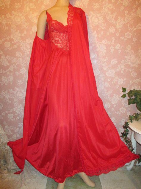 Christmas Red Vintage Nightgown Peignoir Robe Set Olga Bodysilk S M  #vintage #vintageFashion #lingerie #Christmas #gift