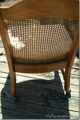 From damaged cane back chair to upholstered...click to see result