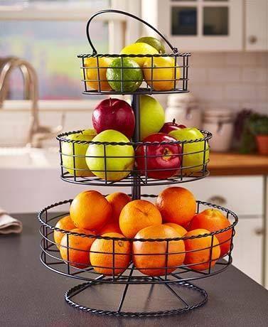 Round 3 Tier Fruit Basket Iron Farmhouse Decor Kitchen Display