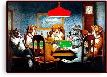 Dogs Playing Poker Vintage C M Coolidge Print Canvas Print By Posterbobs In 2020 Dog Wall Art Dogs Playing Poker Painting