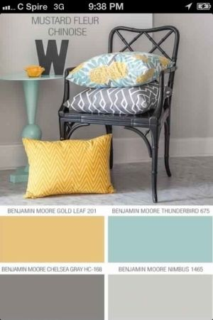 Colour scheme for family room: white and grey walls with yellow and teal accents