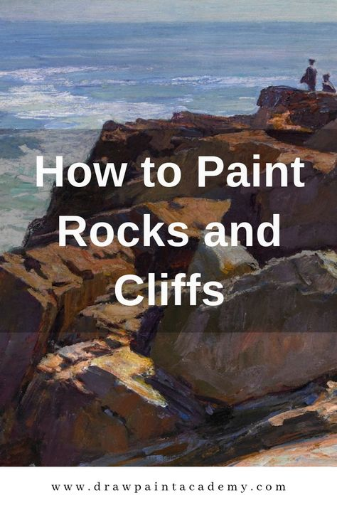 How to Paint Rocks and Cliffs. Rocks and cliffs form a key part of landscape painting, but many people seem to struggle with painting them. This is probably due to the organic and irregular shapes they come in, combined with a lack of understanding about light and shadow. In this post I walk you through how to paint rocks and cliffs, using some stunning master paintings to help demonstrate my points. #drawpaintacademy