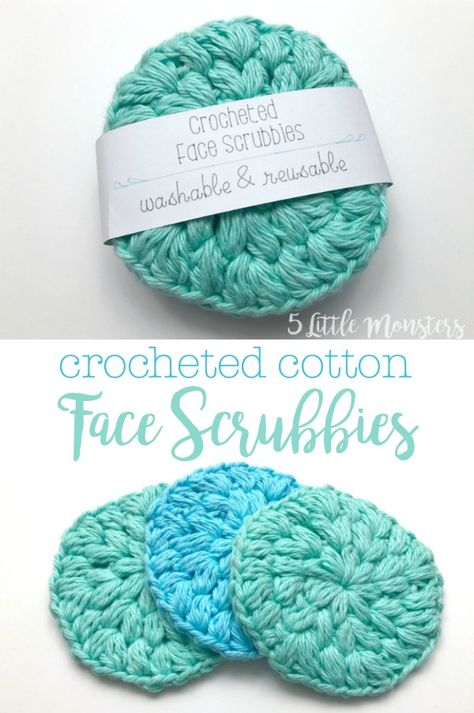 A set of crocheted cotton face scrubbies makes a great gift. They are a really quick project to make and are a great way to use up leftover cotton yarn. Free crochet pattern along with a bonus Cricut file to create a paper wrap to package the set.