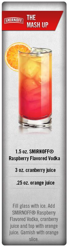 Mix things up a bit with The Mash Up cocktail. Fill glass with ice. Add Smirnoff Raspberry Vodka, cranberry Juice & top with orange juice. Garnish with an orange slice. Cheers! #Smirnoff #drink #recipe