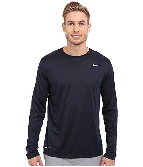 Nike Legend 2 0 Long Sleeve Tee Obsidian Metallic Silver Nike Cloth Long Sleeve Shirt Men Long Sleeve Shirts Mens Long Sleeve Tee