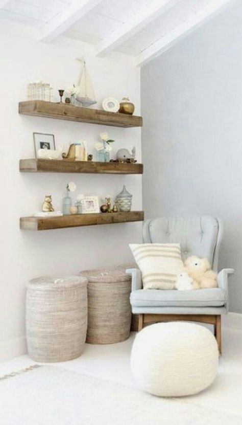 We really want to make wooden shelves like this one for your room, maybe even some matching corner shelves. … – Tess Robin # We really want to make wooden shelves like this one for your room, maybe even some matching corner shelves. Baby Bedroom, Baby Boy Rooms, Baby Room Decor, Baby Boy Nurseries, Nursery Room, Room Baby, Bedroom Small, Girl Nursery, Baby Room Design