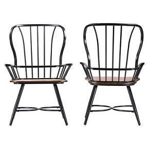 set of 2 longford metal vintage industrial dining arm chair baxton studio dining arm chair chair dining chairs pinterest