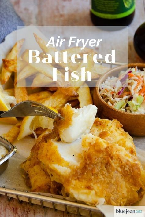Beer Battered Fish and Chips is an all time favorite British meal. Though it is usually deep-fried, now you can make it with less guilt by air-frying your beer battered cod. So easy and tasty - perfect with some air fried chips and malt vinegar. Air Fryer Cod Recipe, Air Fryer Fish Recipes, Air Frier Recipes, Air Fryer Dinner Recipes, Fried Fish Recipes, Seafood Recipes, Cod Fish Recipes, Fish Batter Recipe, Beer Batter For Fish