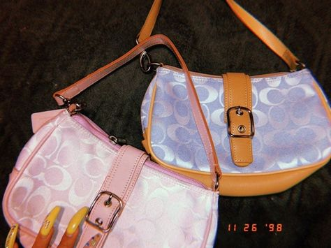 It's a baby pink and a baby blue coach hangbag. Vintage Purses, Vintage Bags, Mini Handbags, Purses And Handbags, Mini Purse, Mini Bag, Coach Purses, Coach Bags, Aesthetic Bags