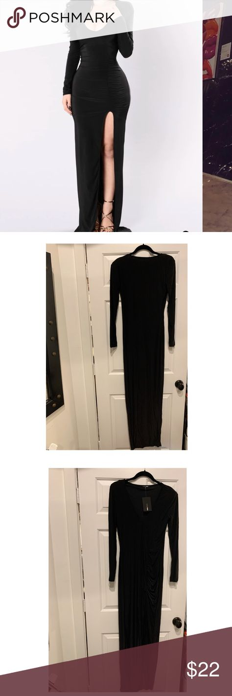 Fashion Nova Love Sex Magic Dress - Never Worn! The popular Love Sex Magic dress by Fashion Nova, in black, never worn w/ tags! This dress has shoulder padding, a thigh-high front slit, and is 95% Polyester 5% Spandex. Photo by Fashion Nova. Fashion Nova Dresses Maxi