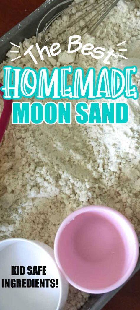 This Easy homemade Cloud Dough recipe needs only 2 ingredients and a few minutes of time to make before the kids are having fun! Moon Dough Recipes, Cloud Dough Recipes, Diy Moon Sand, Homemade Moon Sand, Kids Activities At Home, Toddler Learning Activities, Toddler Fun, Toddler Crafts, Toddler Games