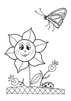 dancing flowers spring coloring sheet