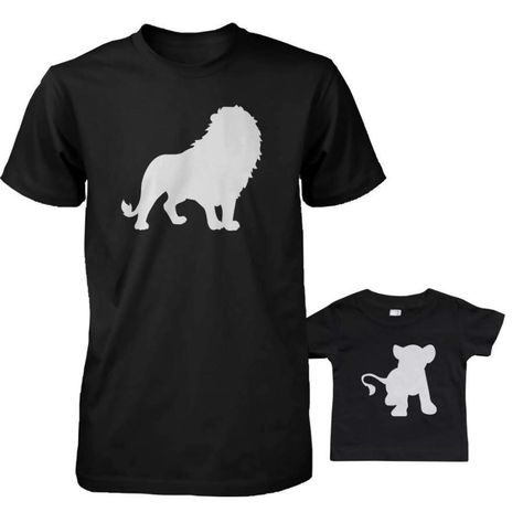 Funny Lion and Cub Matching Dad Shirt and Baby Shirt Shipping from the US. Easy 30 day return policy, 100% cotton, Double-needle neck, sleeves and hem; Roomy Unisex Fit.