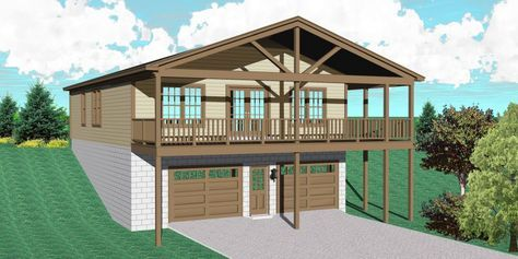 Plan 58570sv Carriage House For A Sloping Lot In 2021 Unique House Plans Carriage House Plans Garage Apartment Plan