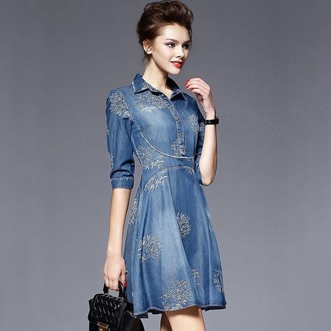 1eaf93c997 Summer Style Women Denim Dress Women Clothes Vintage Half Sleeve Long  Embroidery Slim Dresses Plus Size Vestidos de festa