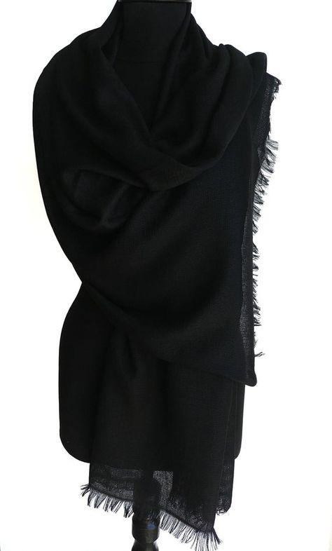 Black Cotton Shawl Black Bridal Shawl Black Cotton Scarg Lightweight Black Wrap Black Pashmina Black