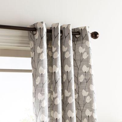 Wren Floral Gray 108 Grommet Curtain Grommet Curtains Grey Curtains Curtains