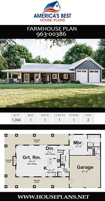 House Plan 963 00386 Farmhouse Plan 1 366 Square Feet 1 Bedroom 1 5 Bathrooms Porch House Plans House Plans Farmhouse Affordable House Plans