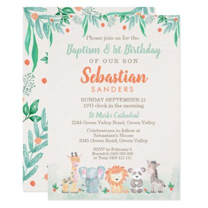 jungle animals baptism 1st birthday
